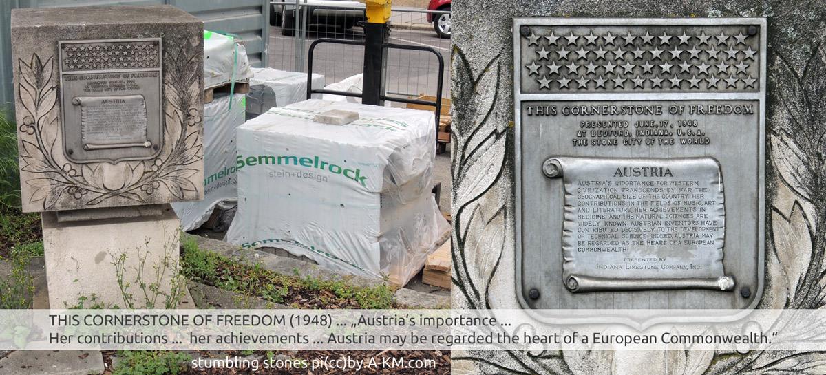 Cornerstone of Freedom, 1948 mit Inschrift - gefunden in Wien 2017